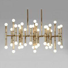 Moderno Rectangular Araña De Bambú Droplight casa de diseño de color bronce Claro mesa de iluminación 100-240 V de Oro/Cromo