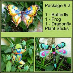 """Save on this package of 3 painted metal plant sticks. Each decorative plant marker has been hand cut from recycled steel drum at our workshop in Haiti and beautifully hand painted. We include a 30"""" rod for each to be displayed in your garden. Size of Frog 10"""" x 13"""" -  Size of Dragonfly 12"""" x 13"""".  Size of Butterfly 10"""" x 12"""".#plantstake #gardenstake #plantdecor #plantstick #plantmarker #metalplantstakes"""