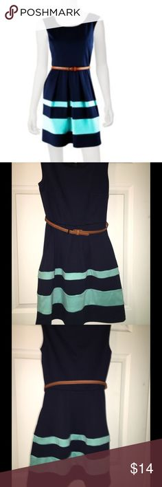 Iz Byer navy blue and ocean blue dress This dress is navy blue and ocean blue. It come with a brown belt. This wonderful dress is great for family and friend get togethers and summer party's. Iz Byer Dresses