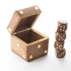 Decorative Wooden Box Set in shape of DicePlated by Fabricasia