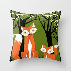 Two Fine Foxes Throw Pillow by Oliver Lake - $20.00
