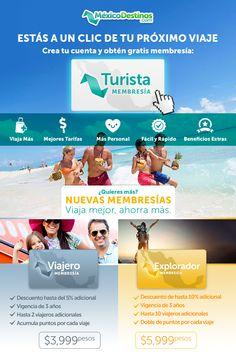 Aprovecha cualquiera de nuestras membresías, crea tu cuenta y obtén gratis tu membresía turista o llámanos al 01800 099 0677 para más información! #Travel #México #Viajeros