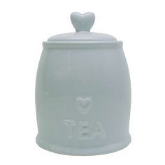 Duck Egg Country Heart Tea Storage Jar   Dunelm