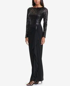 Lauren Ralph Lauren Sequined Jersey Gown