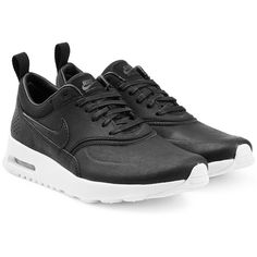 Nike Air Max Thea Premium Leather Sneakers ($110) ❤ liked on Polyvore featuring shoes, sneakers, black, nike shoes, kohl shoes, leather sneakers, nike trainers and black trainers