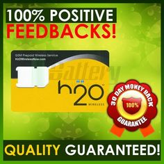 H2O Wireless Sim Cards For AT  UNLOCKED Phones H20 - AT Signal  $50 UNLIMITED TALK/TEXT  250MB WEB w/$10 INTL CALLING!
