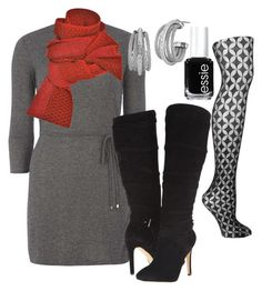 """""""Gray and red"""" by fabulousforties on Polyvore featuring Dorothy Perkins, GUESS, Prabal Gurung, Fogal, Essie and Charriol"""