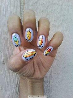 freestylenails: fishing lures nail art design