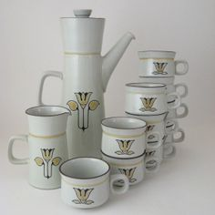Denby Kimberly Coffee Pot Creamer and Cups Set of by WoolTrousers, $78.00