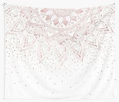 'Elegant rose gold mandala confetti design' Tapestry by InovArtS Rose Gold Painting, Dorm Walls, Bedroom Themes, Wall Tapestry, Confetti, Blush Pink, Colorful Backgrounds, Mandala Rose, Painting Walls