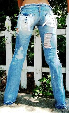 Ripped jeans I am so going to make some like this!!