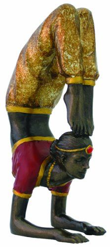 Yoga - Scorpion Pose Statue Figurine with Yoga Instructions Bronze Look Hand-painted Color Accents - This beautifully detailed, hand painted statue features a woman in the yoga scorpion pose.  What a beautiful gift for any yogi master.  $29.88