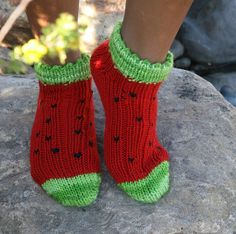 Watermelon Socks - KB all in one or SK sock loom 2, 3 sizes, worsted weight