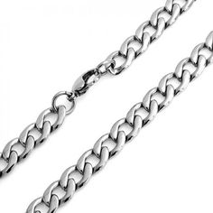 Bling Jewelry Mens 10mm Heavy Curb Cuban Stainless Steel Chain Necklace 24in