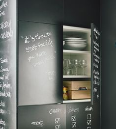 Multi-purpose furniture comes in handy as space saving furniture. IKEA offers a lot of smart products, such as kitchen cabinets with chalkboard doors that work for both shopping lists and storage.