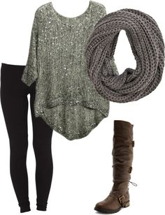 black jeggings, sparkle high-low top, infinity scarf, brown buckle boots