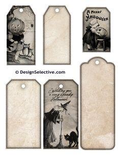 Free Printables-Halloween tags - Halloween, Witch, Goblin, Black Cat, Jack-O-Lantern, Bat, Skull, Ghost, Spooky, Full Moon, Pumpkin, Trick or Treat, Autumn, Fall, Haunting, Scarecrow, Magic Potion, Creepy, Spells