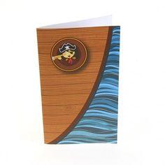 Menu Pirate pour un anniversaire enfant, sous forme de petit livret, vous pouvez vous en servir de carte au trésor !