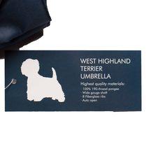 West Highland Terrier Umbrella White on Navy Blue