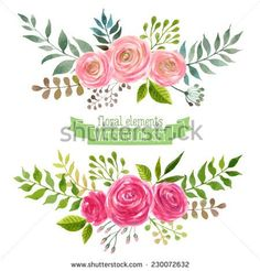 Vector flowers set floral collection with watercolor leaves and vector flowers set colorful floral collection with leaves and flowers drawing watercolor spring stopboris Images