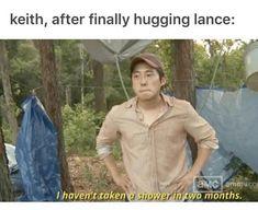 Keith después de abrazar a Lance