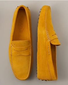 Yellow 'driving shoe' loafers (This example: Tod's penny loafer)
