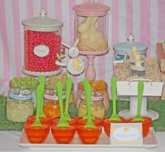 Orange jello and green spoons, plus other treats at an Easter Party #easter #party