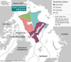 Lord Browne says drilling here is a bad idea - Map showing territorial claims to Arctic waters and US drilling site
