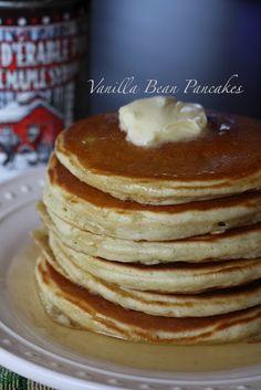 Fluffy vanilla bean pancakes....  Yum