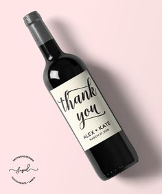 Custom Thank You Label, Wine Label, Thank You Gift, Wedding Thank You, Thanks, Bridal Party Gift, Bridal Shower Thank You, Host Gift by SpotswoodDesigns on Etsy