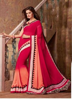 Faux Georgette Orange and Red Lace Classic Saree