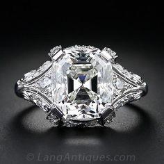 Vintage 5.32 Carat Asscher Cut Diamond Ring - 10-1-4329 - Lang Antiques