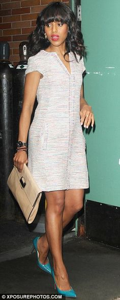 A sight to behold: Kerry looked fantastic in all her outfits, and strutted confidently in Louboutin shoes