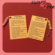 SWAPS4Free: Argentina Guide Law World Thinking Day Girl Scout SWAPS - Free Printable!