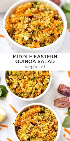 This Middle Eastern Quinoa Salad is made with fresh saffron quinoa then tossed with tons of other goodies like carrots mint spring onions and dates. Healthy easy to make vegan vegetarian and gluten-free. Full of authentic flavors! Asian Quinoa Salad, Healthy Salads, Healthy Recipes, Clean Eating Snacks, Healthy Eating, Middle Eastern Recipes, Middle Eastern Vegetarian Recipes, Middle Eastern Food, Chicken Salad Recipes