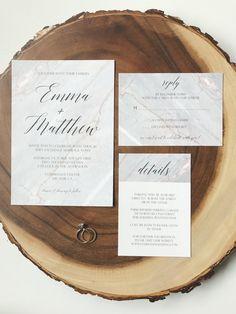 Simple Marble Wedding Invitation Suite