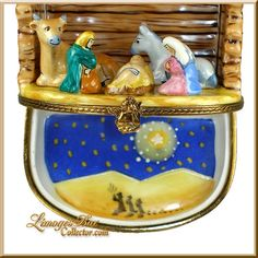 Holy Family Nativity with Barn Animals Limoges Box (Beauchamp)