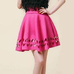$35.99 USD Cut Out Elasticated Waistband High Waist Pleated Skirt