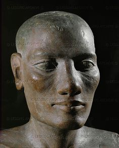 *EGYPT SCULPTURE 3RD-2ND MILL. B.C.E.:  Male head, tete Salt Painted limestone Old Kingdom, 4th - 5th dynasty Inv. N 2289