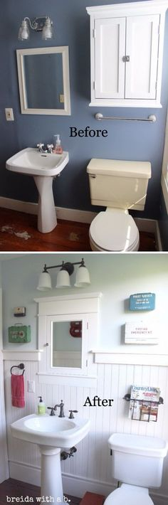 Farmhouse Bathroom Renovation. Ship lap in the bathroom | before and after bathroom makeover ideas