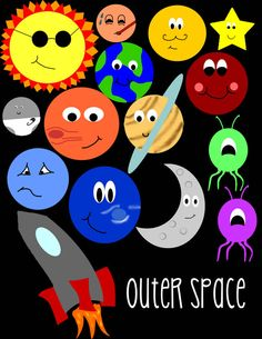 Outer Space Clip Art by ThreeScribblings on Etsy #crafts #scrapbooking #outerspace