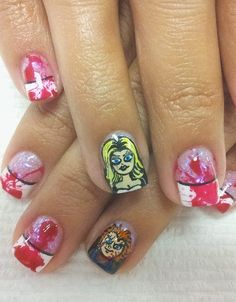 If you don't have the time to turn yourself into a zombie princess Jasmine, that doesn't mean your holiday spirit ends there! All nail-art-lovers know a simple, spine-chilling design is your best costume yet. Take some inspiration here from your favorite horror film, Bride of Chucky
