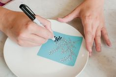 Sharpie a stencil on a plate. Bake at 350 for 10 mins = permanent. Pinterest night? #Artsandcrafts