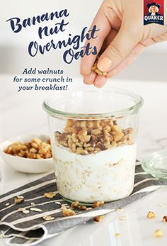 Top overnight oats with walnuts in the morning for the perfect amount of crunch in Quaker® Banana Nut Overnight Oats! Mix, grab, a spoon, and you're ready to take on the day.