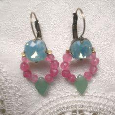 Swarovski crystal × Pink lapis lazuli × Green Aventurine bijou pierced | La Belle Mer