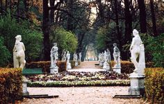 "St. Petersburg, Russia>The Summer Garden (Russian: Летний сад) is a public garden ""French"" in the heart of the city of St. Petersburg in Russia. Prime Garden St. Petersburg, it is carried out between the years 1704 and 1719 on a plan outlined by Tsar Peter the Great. The park is located on the Neva River that runs along the north. It is also surrounded by the Swans channel to the west, the east Fontanka and Moika south."
