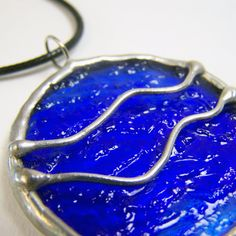 Wavelength - Stained Glass Pendant with Black Cord by faerieglass