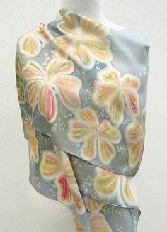 Grey silk scarf hand painted cream pastel pink silver silk
