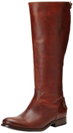 FRYE Women's Melissa Button Back-Zip Boot,Cognac Smooth Vintage Leather,7.5 M US