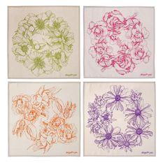 abigail*ryan Set of 8 hand-illustrated Napkins... Hellebore, Rose, Tulip, Cosmo garland designs.